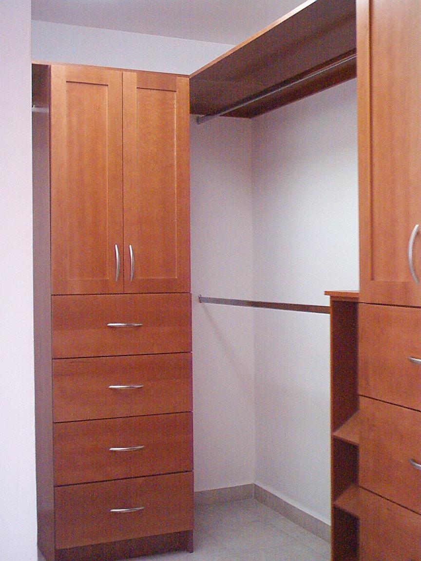 Vestidor con puertas de madera maple en estilo flat panel for Casas con puertas de madera